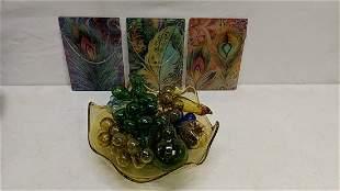 3 Glass panes peacocks & glass bowl w/fruit