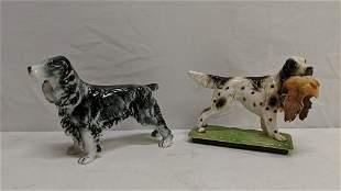 2 porcelain dogs glazed