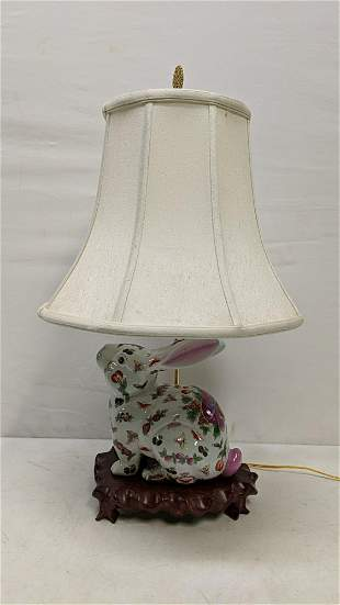 Ceramic Rabbit on a wood base lamp