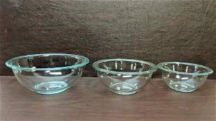 3 Pyrex Clear mixing bowls