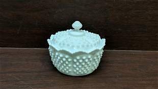 Fenton Milk Glass Hobnail candy with lid