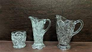 3 pieces of early American Press Cut glassware