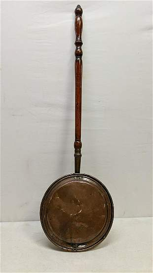 English copper bed warmer with wood handle