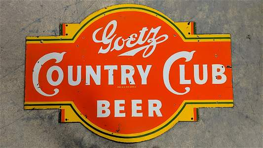 Goetz Country Club Beer Porcelain sign