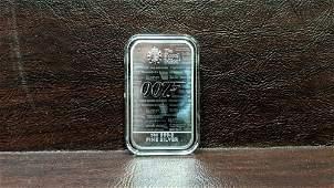 """1 oz. .999.9 Fine Silver Bar """"007"""""""