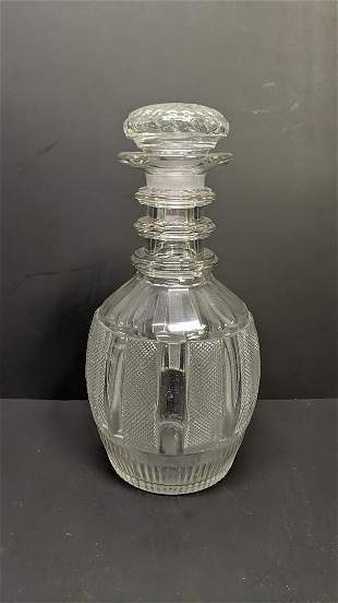 pressed cut crystal decanter with stopper