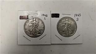 2 1945 S Walking Liberty half dollars