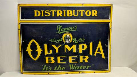 Porcelain Olympia Beer single sided sign