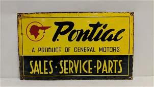 Porcelain Pontiac sales single sided sign