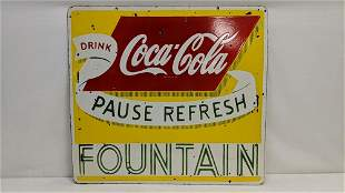 Porcelain Fountain Coca Cola double sided sign