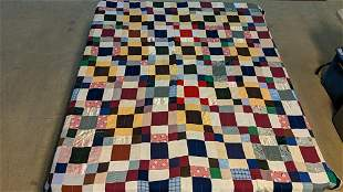 Machine made patch quilt made of old fabric