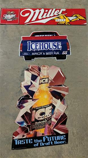 3 Embossed metal beer signs