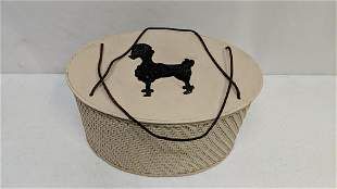 1950's sewing basket with poodle print on top