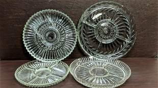 4 pics. press-cut crystal serving divided platters
