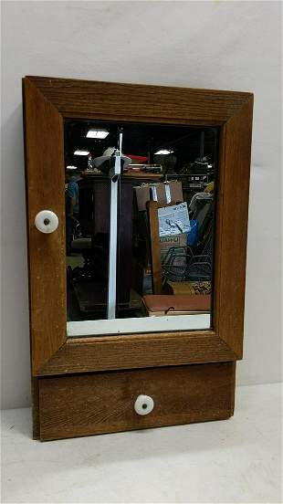 Oak Mirrored Medicine cabinet with drawer