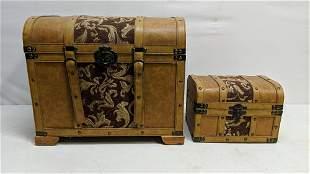 2 nesting boxes light tan & fabric decorator chest