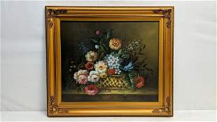 Oil on canvas basket of flowers