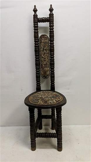Mahogany & upholstered prayer chair