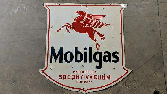 Mobil Gas Porcelain double sided sign