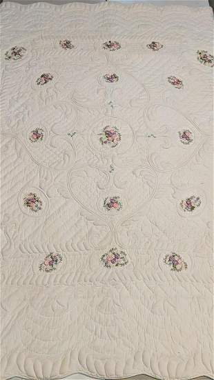 Ribbon embroidered hand made quilt