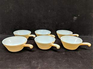 6 Fire King handled soup / chili bowls