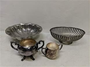 Pewter bowl, silverplate bread basket & 2 sugars