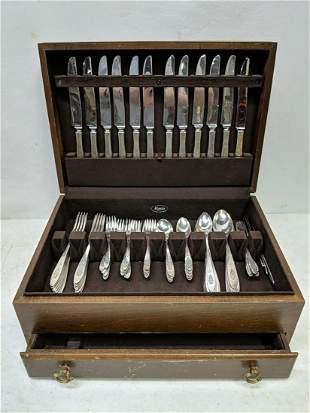 81 piece set of Community Plate flatware in box