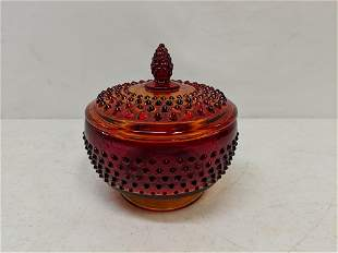 Amberina hobnail candy dish with lid