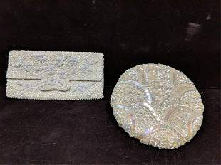 Beaded & Sequined clutch and sequined hat