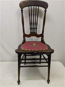 Oak Side Chair with needlepoint seat