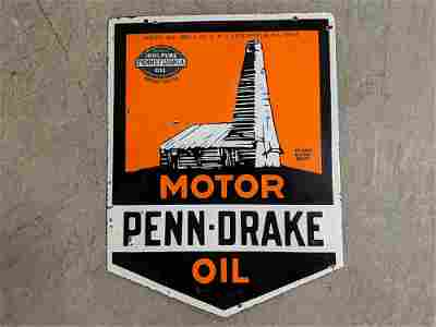 Penn - Drake Motor Oil porcelain double sided Sign