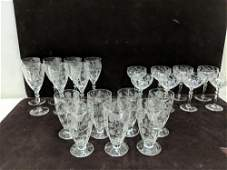 22 pieces of crystal etched stemware
