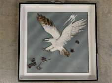 Vintage framed feather art Eagle from Canada
