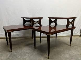 pr. Mid Century Modern mahogany step down tables