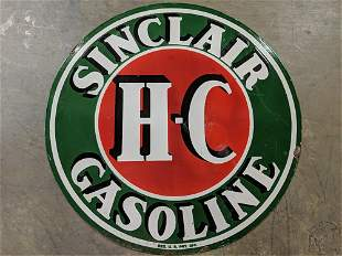"48"" double sided porcelain Sinclair H - C sign"