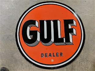 "36"" Double sided porcelain Gulf Dealer sign"