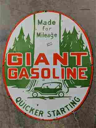 Oval Double sided Giant Gasoline porcelain sign