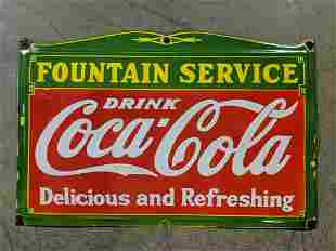 Porcelain Single sided Coca Cola Fountain sign