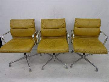 3 Herman Miller Leather chairs—Chrome base