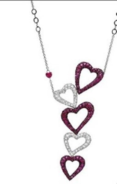 Ladies Beautiful Salavetti 18k White Gold Heart Necklac