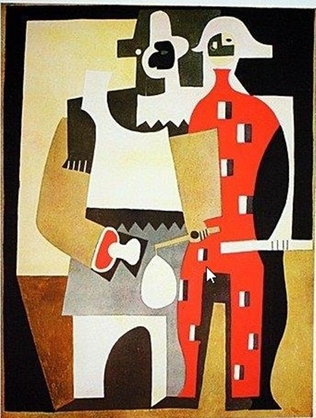"""Pablo Picasso """"Pierrot and Red Harlequin Standing"""" Sign"""