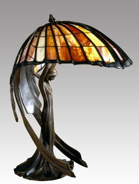 Beautiful Flying Lady Sculped Tiffany Style Lamp