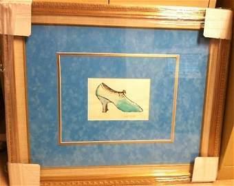 "Rare Original HS Ink Draw Andy Warhol ""Blue Shoe"""