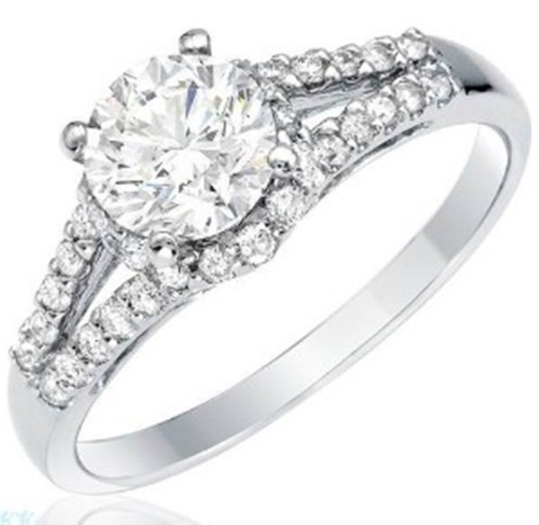 Ladies Fancy 14k White Gold Diamond Engagement Ring