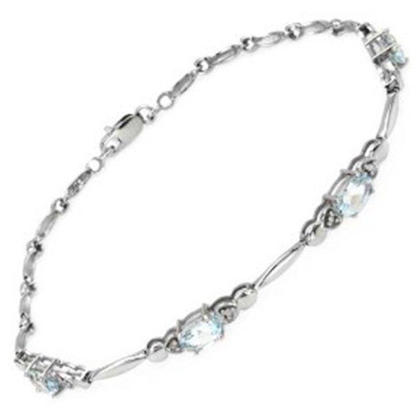 Ladies Stunning Gold Aquamarine & Diamond Tennis Bracel