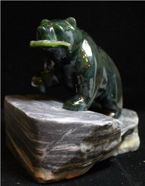 Striking Jade Bear on Granite Base