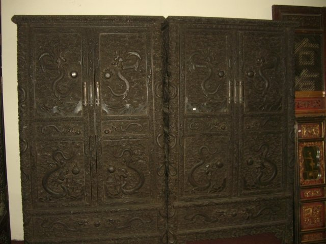BLACK HARDWOOD CABINET WITH TWO DARGONS / PAIR
