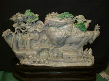 BURMA JADE WITH PEOPLE AND LANDSCAPE