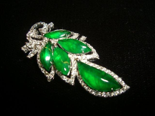 Jadeite leaf pendent