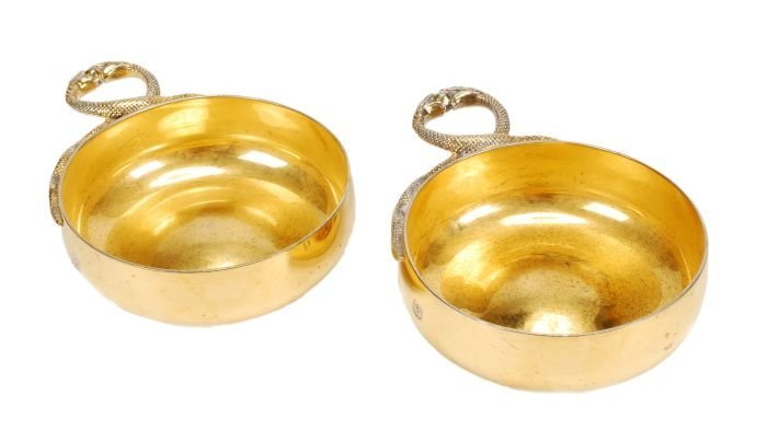 Tiffany, a pair of silver gilt wine tasters by Tif